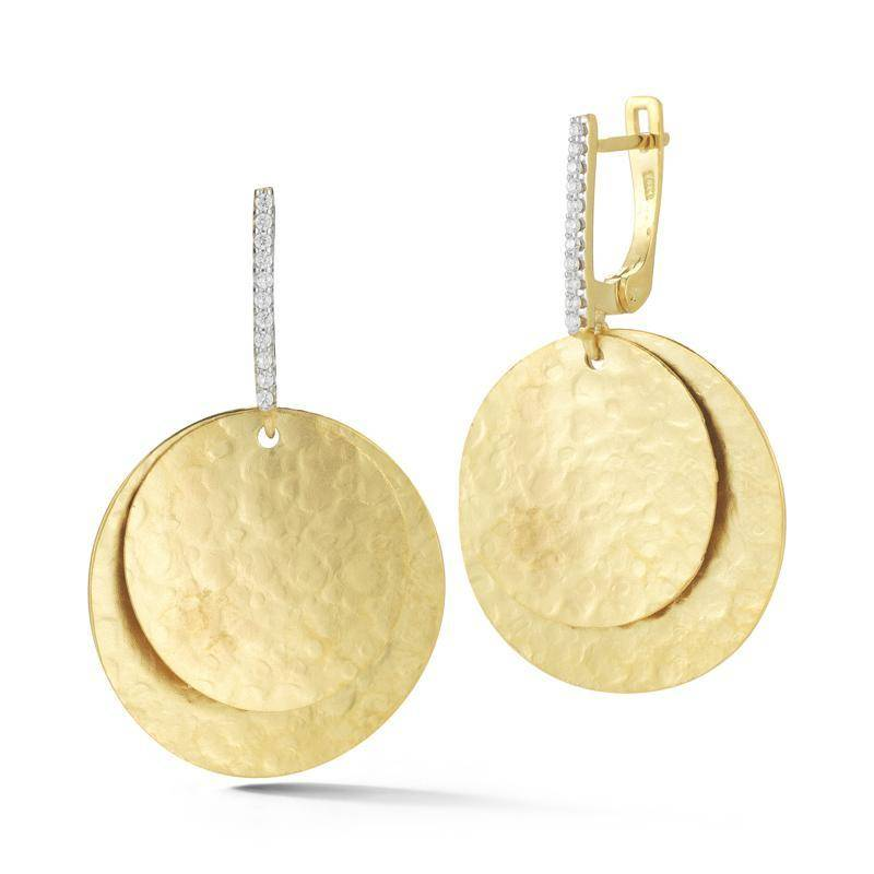 ER3176Y yellow gold disc drop earrings