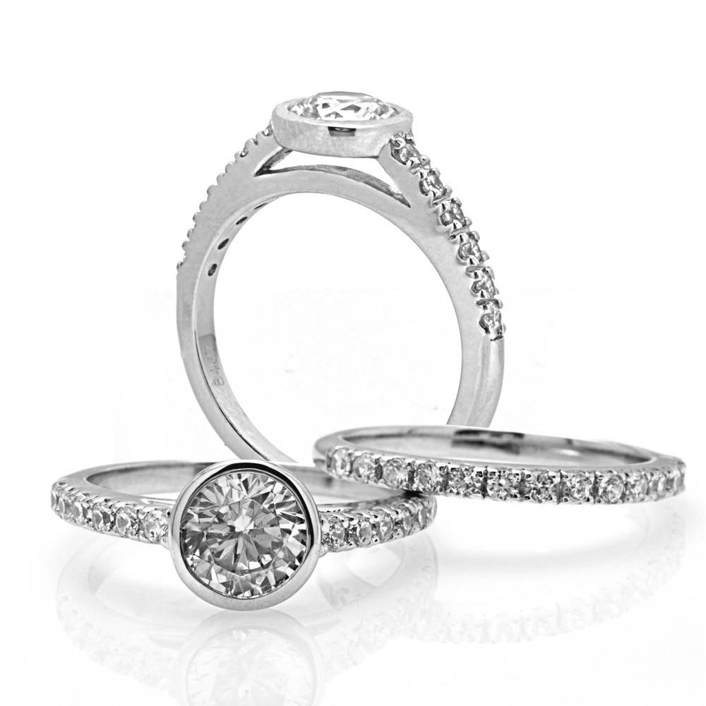 Facets FA8467 bezel engagement ring setting