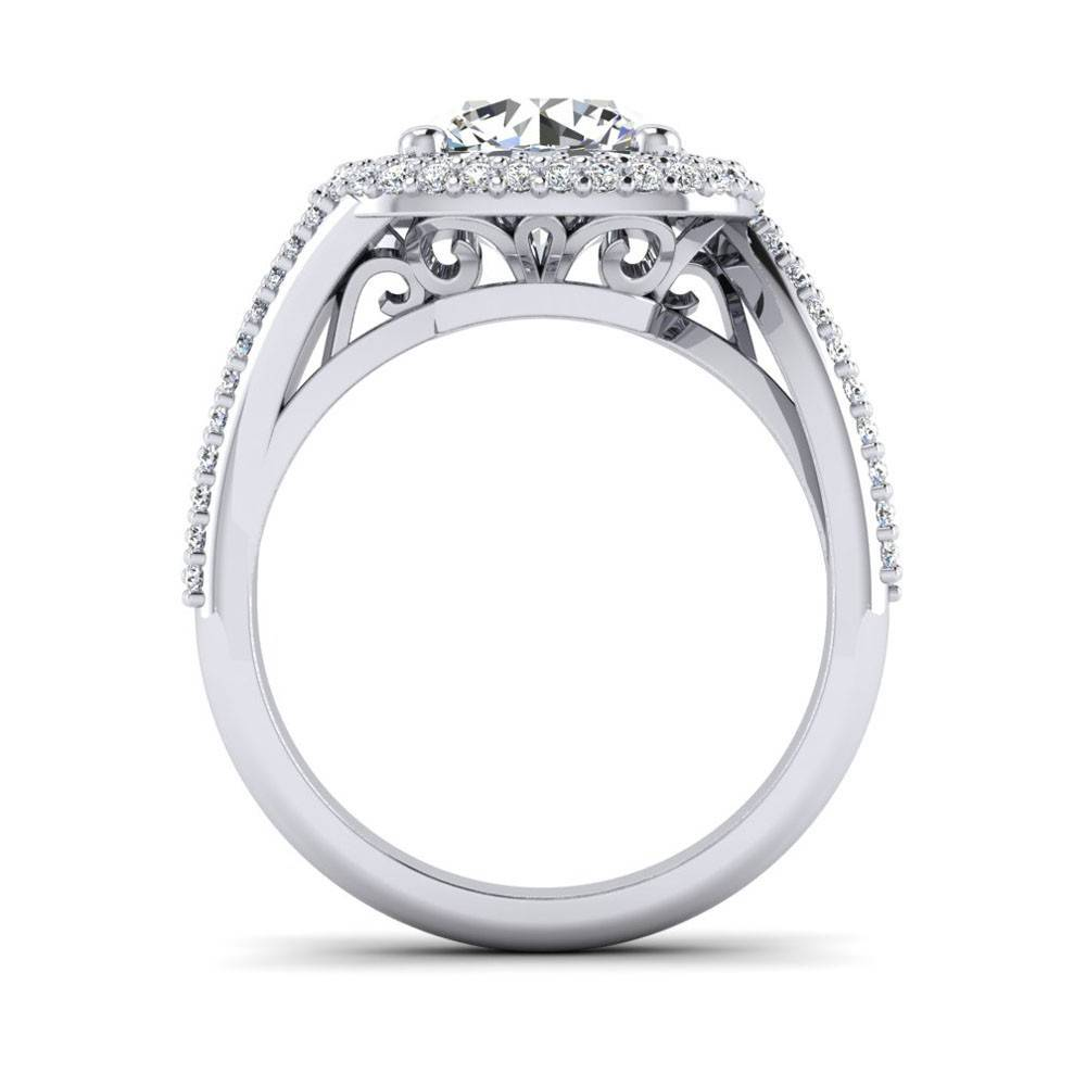 Facets FA9240 double halo engagement ring setting