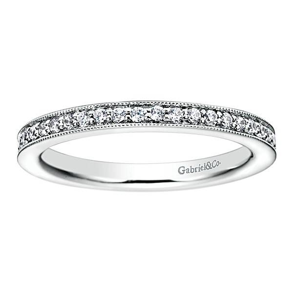 Gabriel & Co AN6032 milgrain beadset eternity band