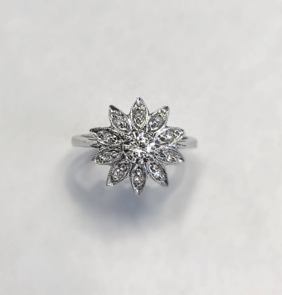 Vintage Flower Diamond Cluster Ring Freedman Jewelers