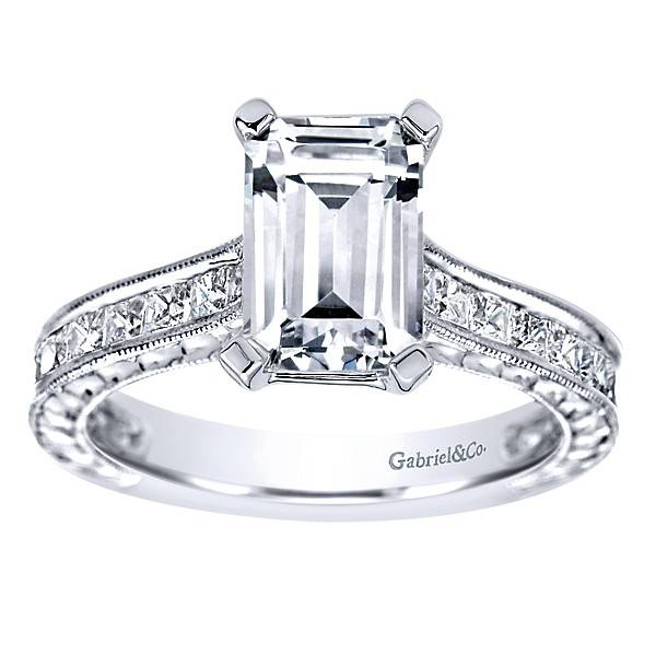 ER8810 Emerald Cut Diamond Setting