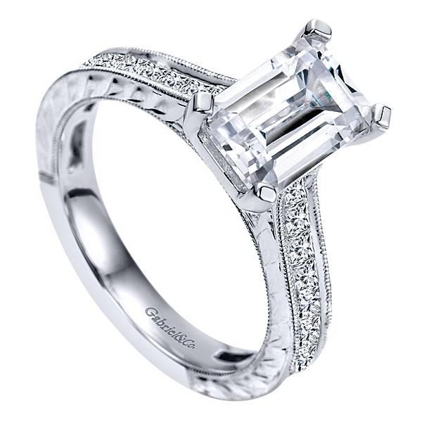Gabriel & Co ER8810 Emerald Cut Diamond Setting