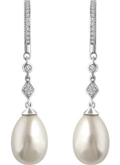 652793 pearl and diamond drop earrings