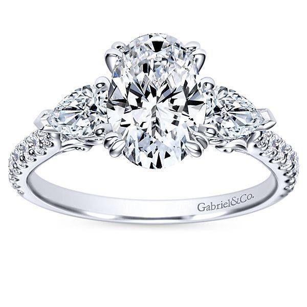 Gabriel & Co ER9048 oval and pear shape diamond engagement ring