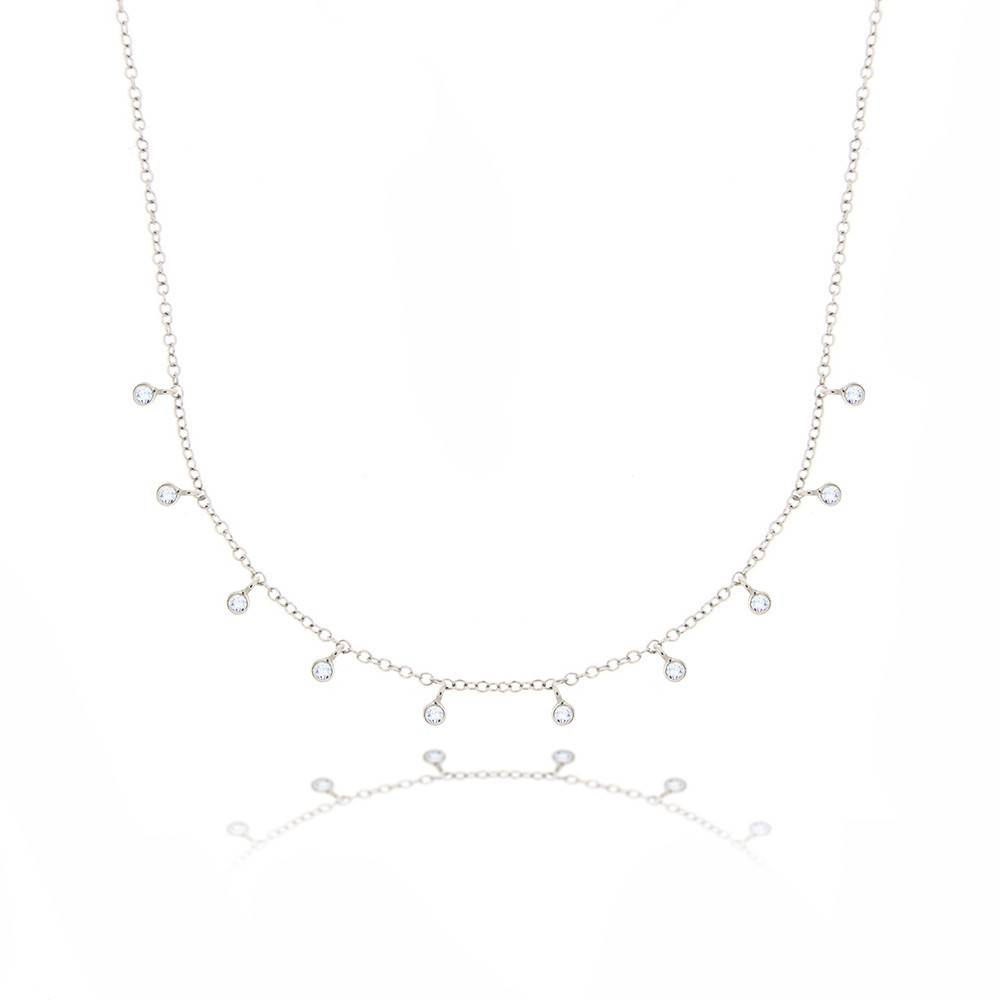 N10362 Hanging Diamond Bezel Necklace
