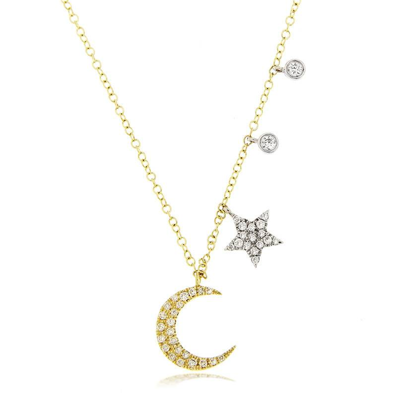 Meira T N7335 Diamond Moon and Star Necklace