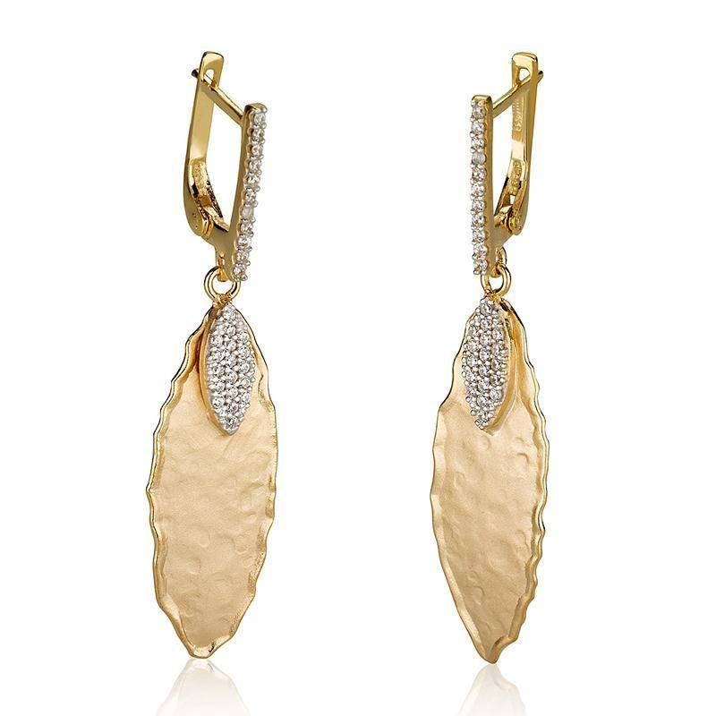 I. Reiss ER3071Y gold leaf earrings 0.35 ct tw