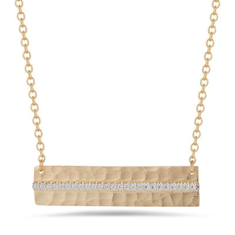 IR3615Y hammered diamond bar necklace