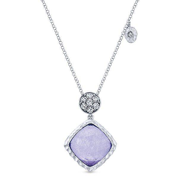 NK4784 silver rock crystal purple jade necklace