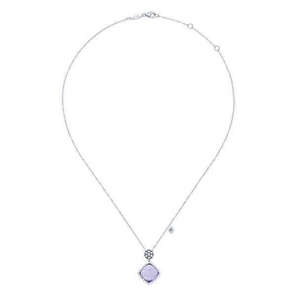 NK4784 silver rock crystal purple jade necklace