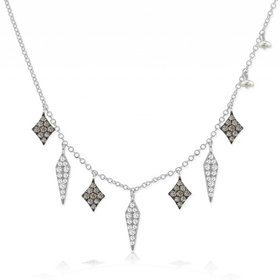 N10373 White Diamond and Black Spike Necklace