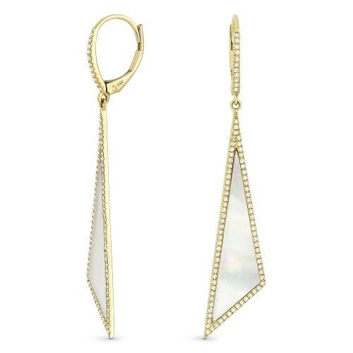 Madison L DE11233 mother of pearl and diamond earrings