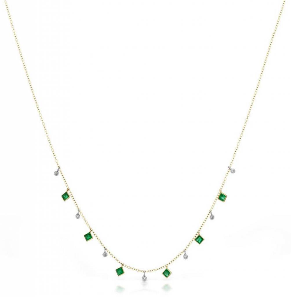 Meira T N10279 Emerald Bezel Necklace