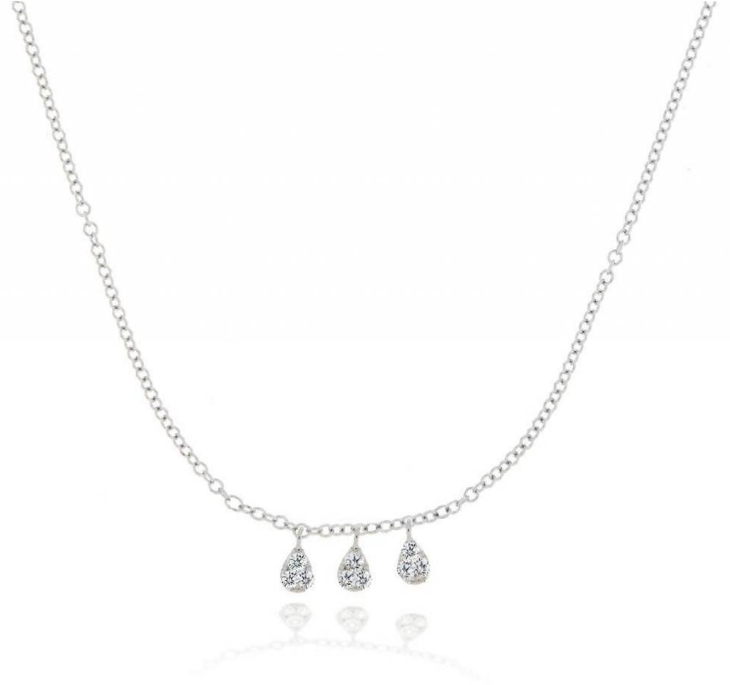 n10608 White Gold Tear Drop Diamond Necklace