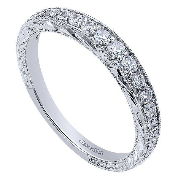 Gabriel & Co WB10119 engraved wedding band 0.33CT 14K