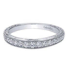 WB10119 engraved wedding band 0.33CT 14K