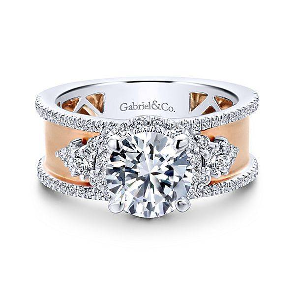Gabriel & Co ER12184  14kt white & rose gold wide halo mounting