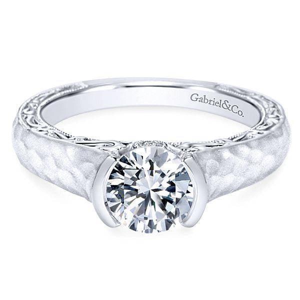 7835f4e605e27 ER9058 Semi-Bezel Hammered Engagement Ring
