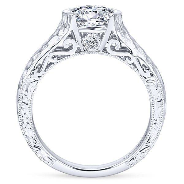 Gabriel & Co ER9058 Semi-Bezel Hammered Engagement Ring