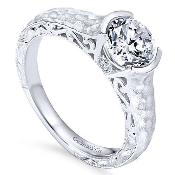 Gabriel & Co ER9058 Semi-Bezel Hammered Engagement Ring