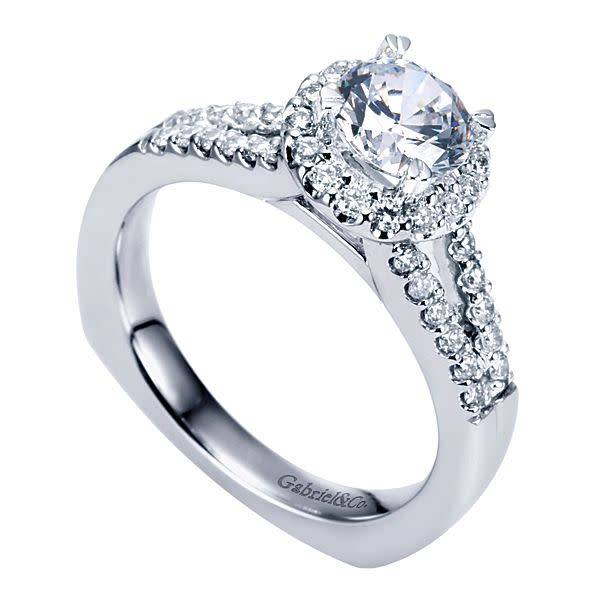 Gabriel & Co ER6567 Contemporary Split Shank Halo Engagement Ring