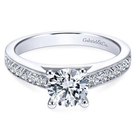Tess Milgrain Engagement Ring Setting