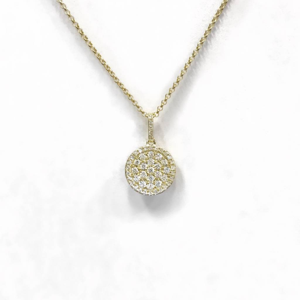 N9993 14kt yellow gold diamond circle drop necklace