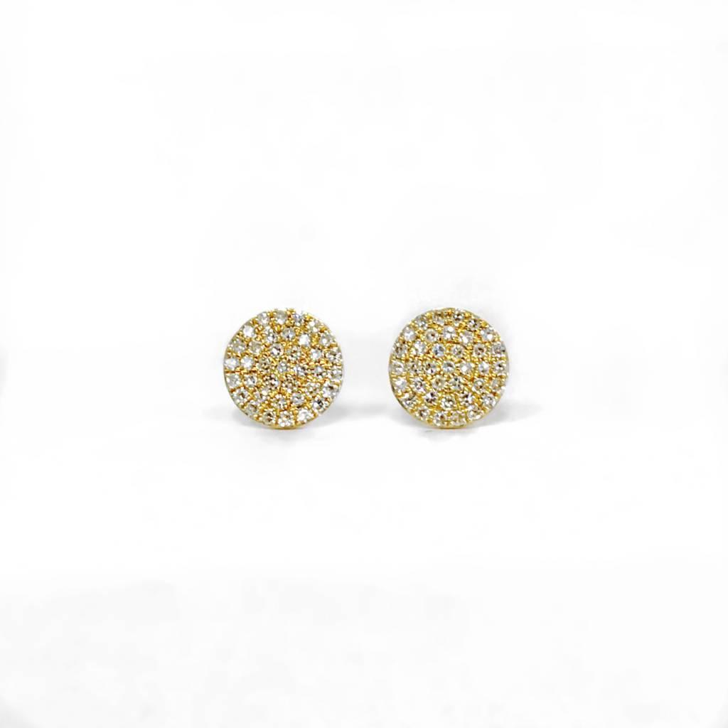 E11043 yellow gold diamond circle cluster earrings