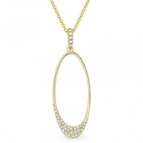 Madison L N1114W Oval Diamond Drop Necklace
