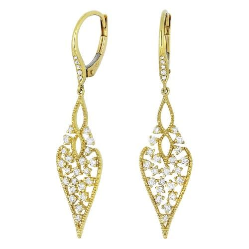 Madison L E1097Y  Yellow Gold Intricate Diamond Leaf Earrings