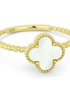 R1025 mother of pearl clover and gold cable style ring