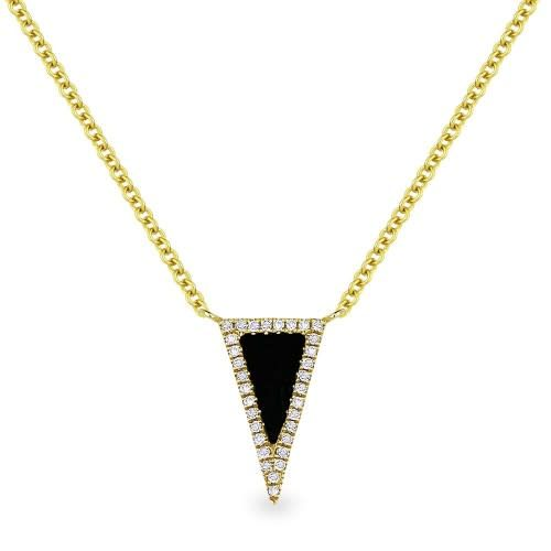 N1170 yellow gold black onyx & diamond necklace
