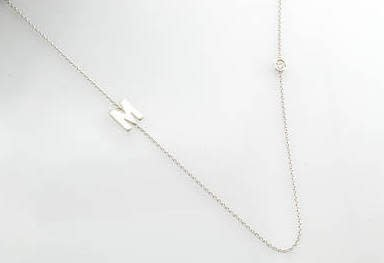 Small Initial Necklace attached to chain