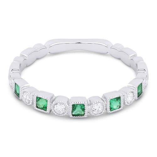Alternating Diamond & Emerald Band