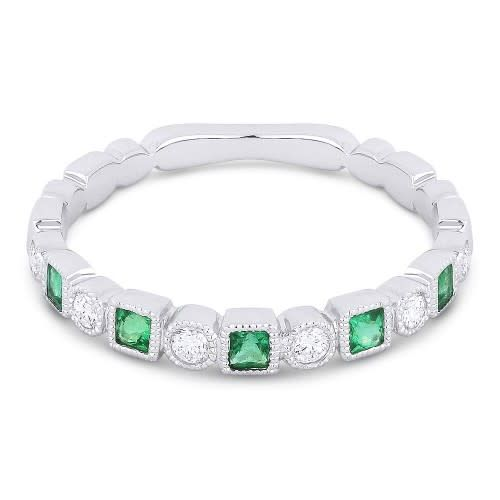 Madison L Alternating Diamond & Emerald Band