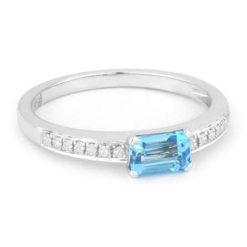 Madison L  Blue Topaz Ring with Diamond Accents