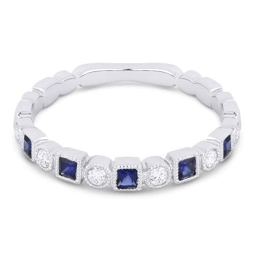 Alternating Diamond Sapphire Band