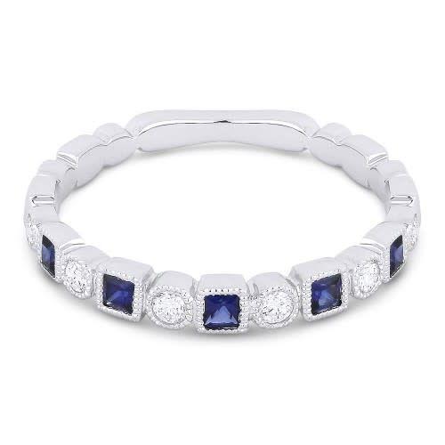 Madison L Alternating Diamond Sapphire Band
