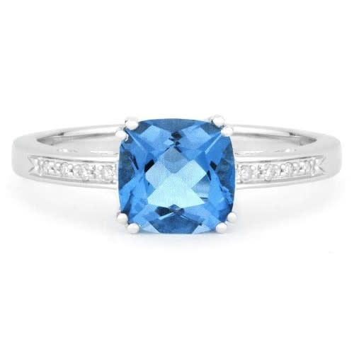 Madison L London Blue topaz Ring with Diamond Accents