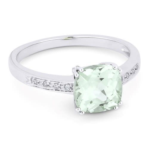 Green Amethyst and Diamond Accent Ring