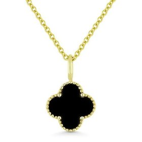 Black Onyx Quatrefoil Necklace