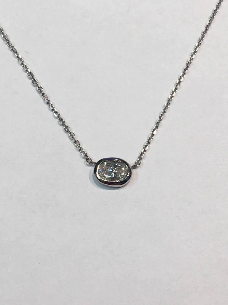 Freedman Oval Diamond Bezel Necklace