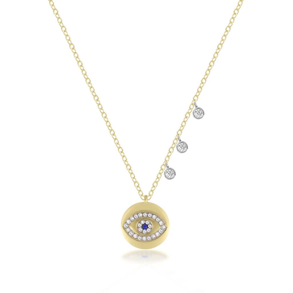 14kt Yellow Gold Evil Eye Diamond Necklace