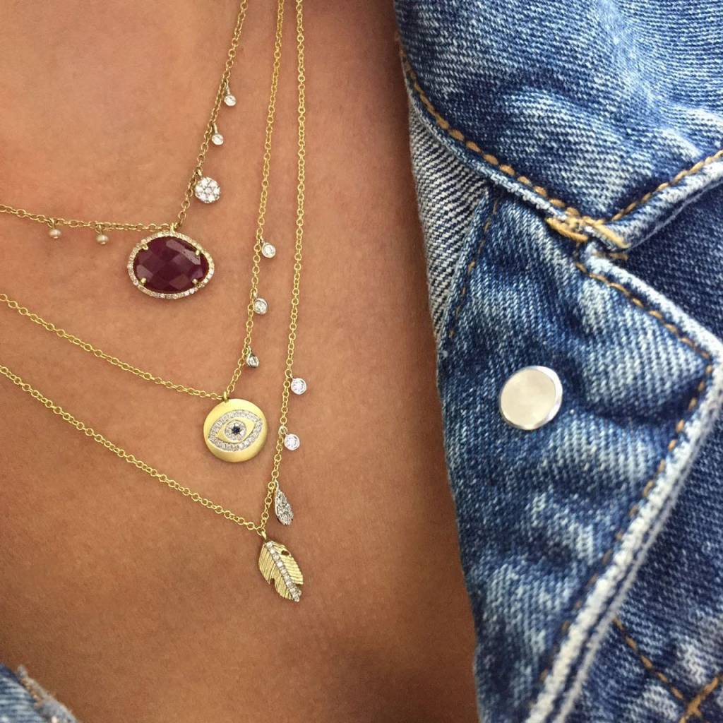 Meira T 14kt Yellow Gold Evil Eye Diamond Necklace