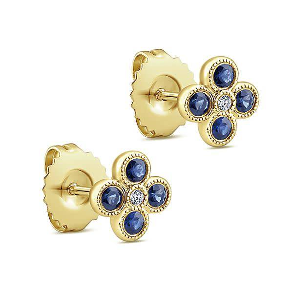 Gabriel & Co Sapphire and Diamond Cluster Stud Earrings