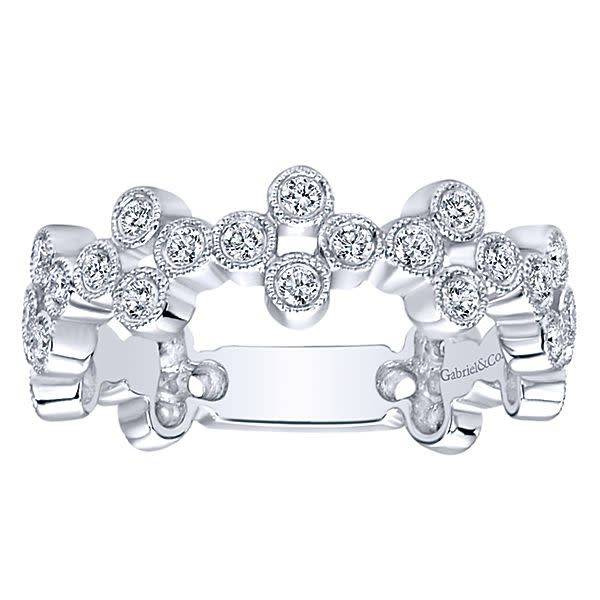 LR5663 Wide bezel set stackable diamond band
