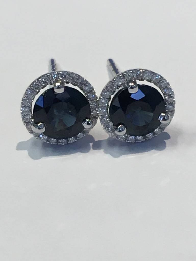 Freedman Blue Sapphire & Diamond Halo Earrings