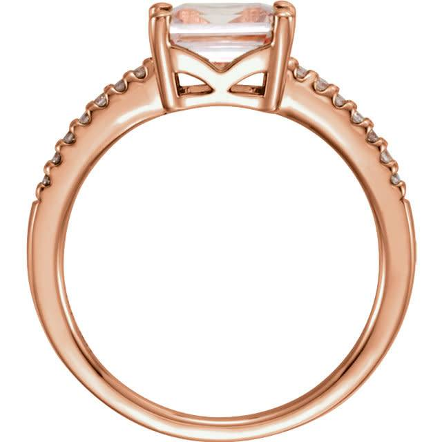 Stuller 14kt rose gold morganite and diamond ring