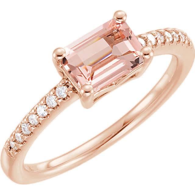 14kt Rose Gold Rectangular Morganite And Diamond Ring Freedman Jewelers